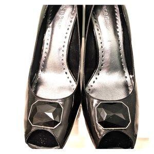 BCBG peep toe patent heels, size 10